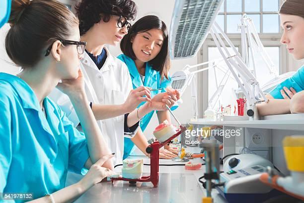 Multi ethnischen eine Gruppe von weiblichen Studenten lernen Zahnersatz