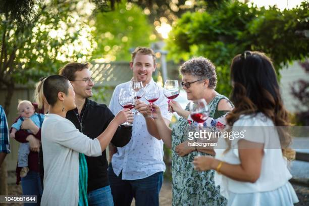 multi ethnic group of wine tasters clinking glasses together at tasting session - sonoma county stock pictures, royalty-free photos & images