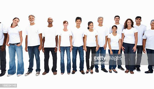 Multi ethnic people standing in a row