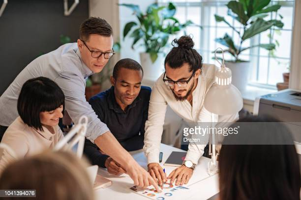 multi ethnic team on business meeting in sweden - small group of people stock pictures, royalty-free photos & images