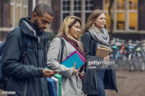 Multi ethnic university students going to classes in the Netherlands