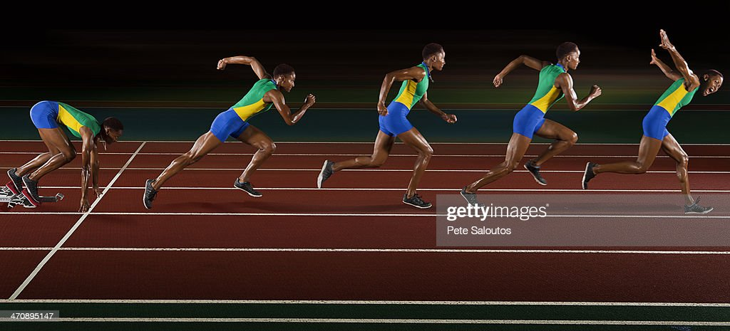 Multi exposure of young woman in sprint sequence : Stock Photo