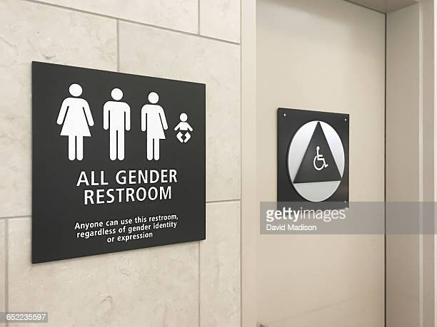 Multi gender bathroom signage in airport
