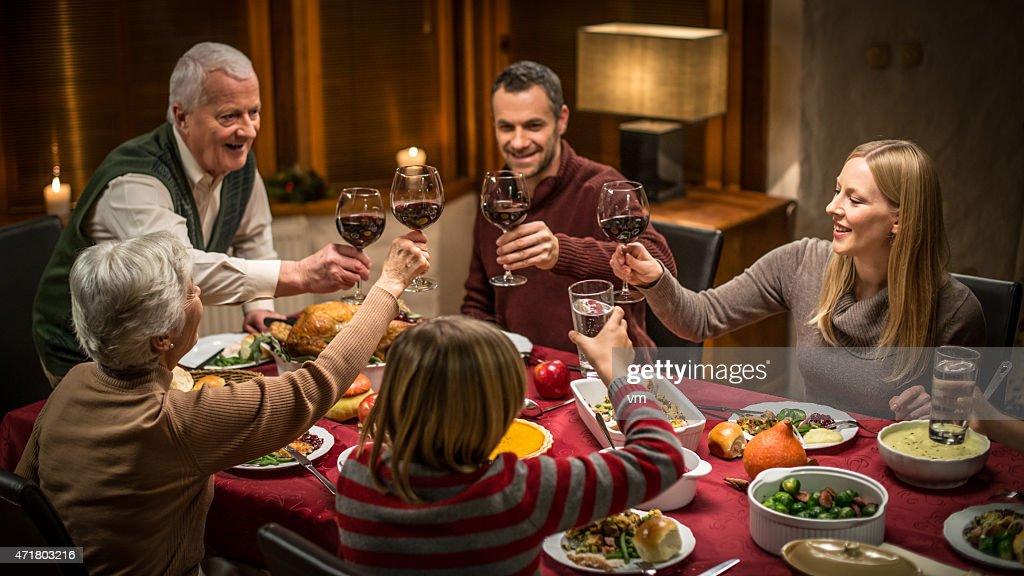 Multi Generation Family Celebrating Thanksgiving : Stock Photo