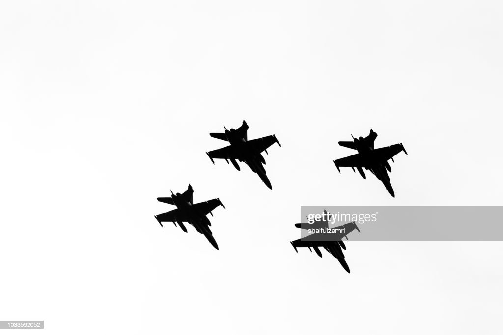 Multi jet fighters from Air Force of Malaysia fly-by during the 61st Independence Day celebration held at the administrative capital of Putrajaya. : Stock Photo