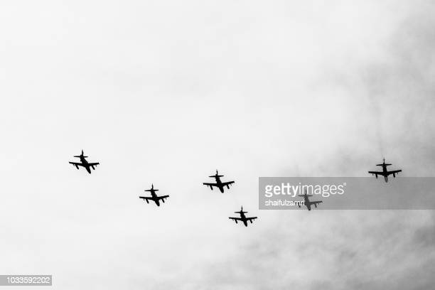 Multi jet fighters from Air Force of Malaysia fly-by during the 61st Independence Day celebration held at the administrative capital of Putrajaya.