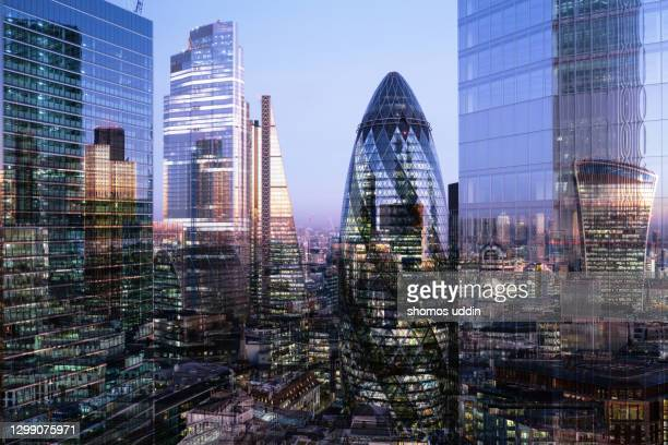 multi layered cityscape of london skyline - elevated view - london stock pictures, royalty-free photos & images