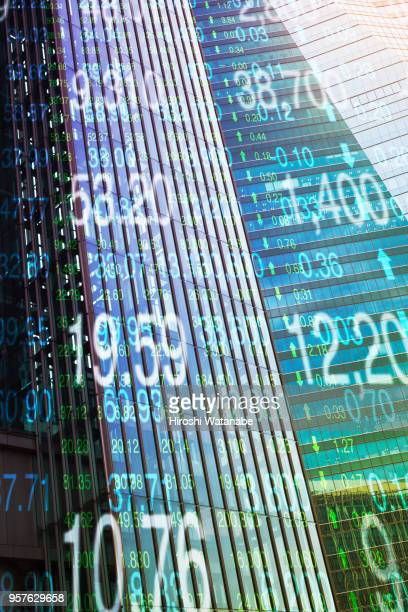 Multi layered, stock index with cityscape
