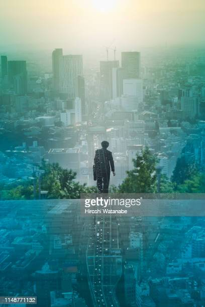 multi layered, walking businessmen with cityscape - international match photos et images de collection