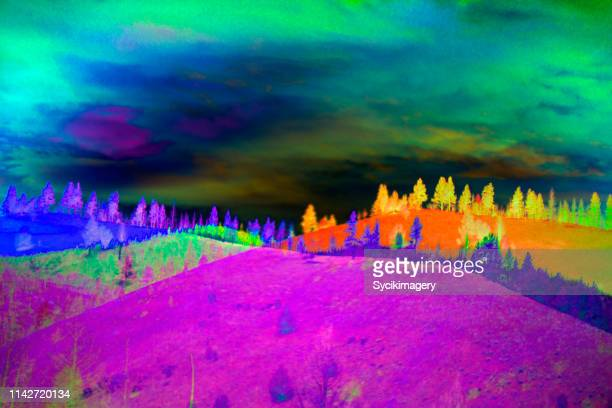 multi layered wilderness hillside - saturated colour stock pictures, royalty-free photos & images