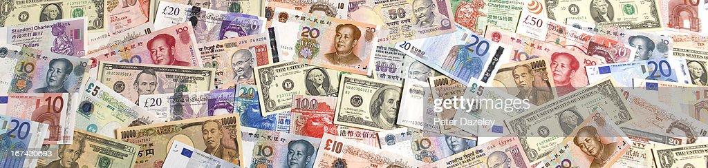 Multi national bank notes : Foto de stock