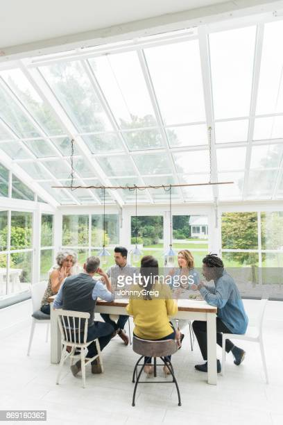 Multi racial group of friends sitting around table in sun room enjoying dinner