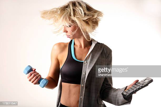 Multi Tasking Business woman balancing life work and fitness