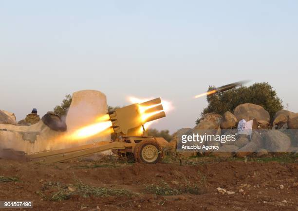MultiBarrel Rocket Launcher in action within the clashes between armed opposition group Tahrir alSham and Assad Regime forces around the Abu AlDuhur...