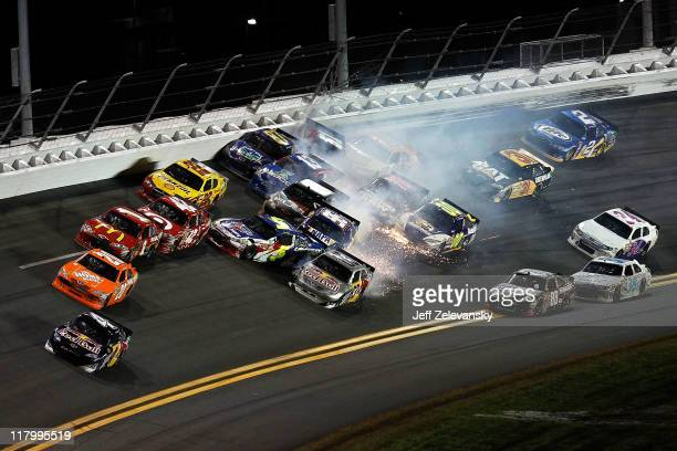 A multicar crash involving several drivers including Kurt Busch driver of the Shell/Pennzoil Dodge Mark Martin driver of the Carquest/GoDaddycom...