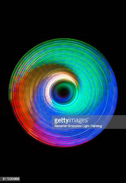 multicolor abstract circular light painting 2 - windung stock-fotos und bilder