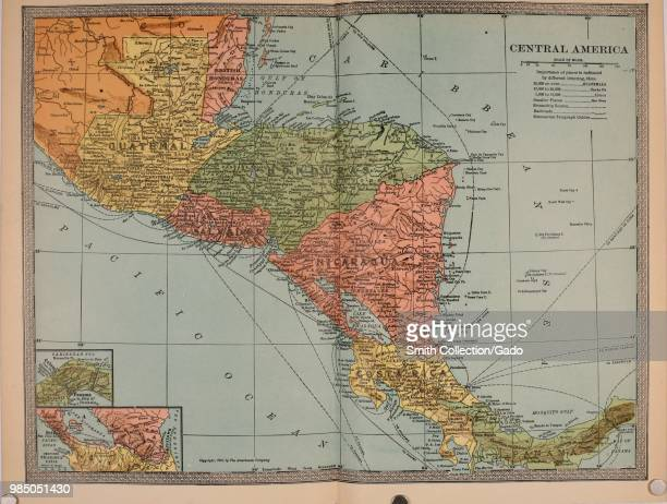 Multicolor early twentiethcentury political and physical map of Central America with a key and inset closeups to better illustrate the Panama and...