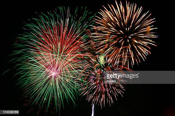 multicolor firework show at night - 4th stock pictures, royalty-free photos & images