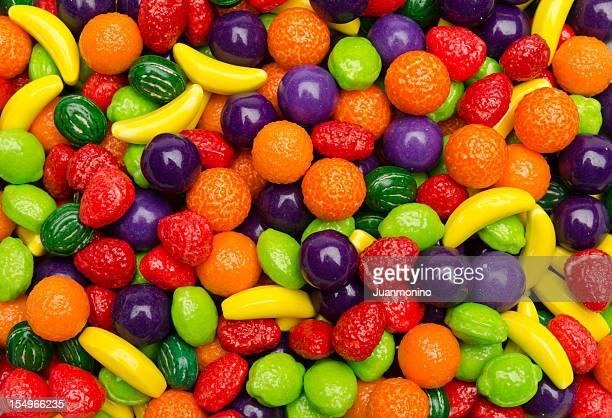 Mehrfarbig Obst und Süßigkeiten