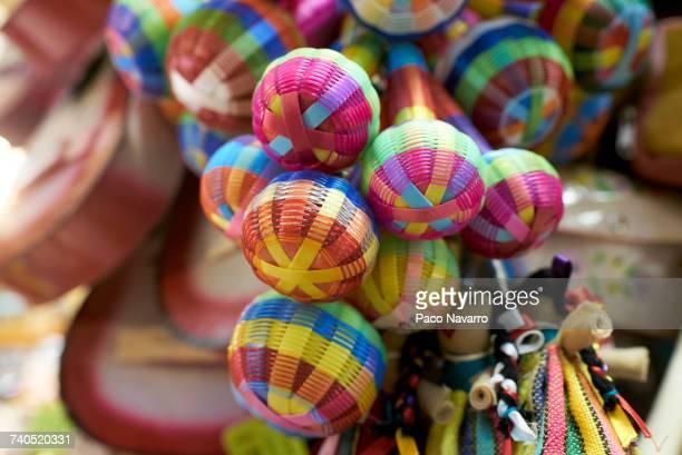 Multicolor maracas in shop in Guadalajara, Jalisco, Mexico