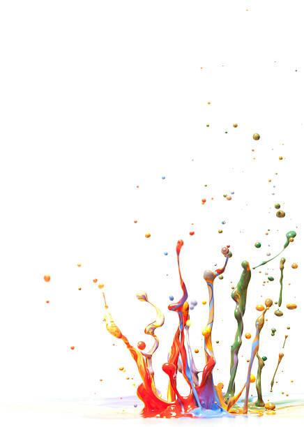 Multicolor Paint Splash Against A White Background. Wall Art
