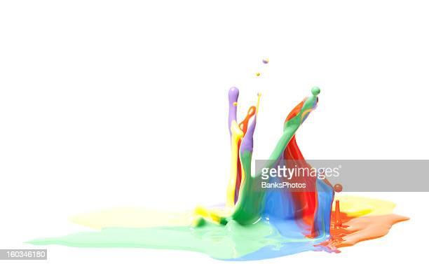 tinta multicor splash isolado no branco - borrifo - fotografias e filmes do acervo