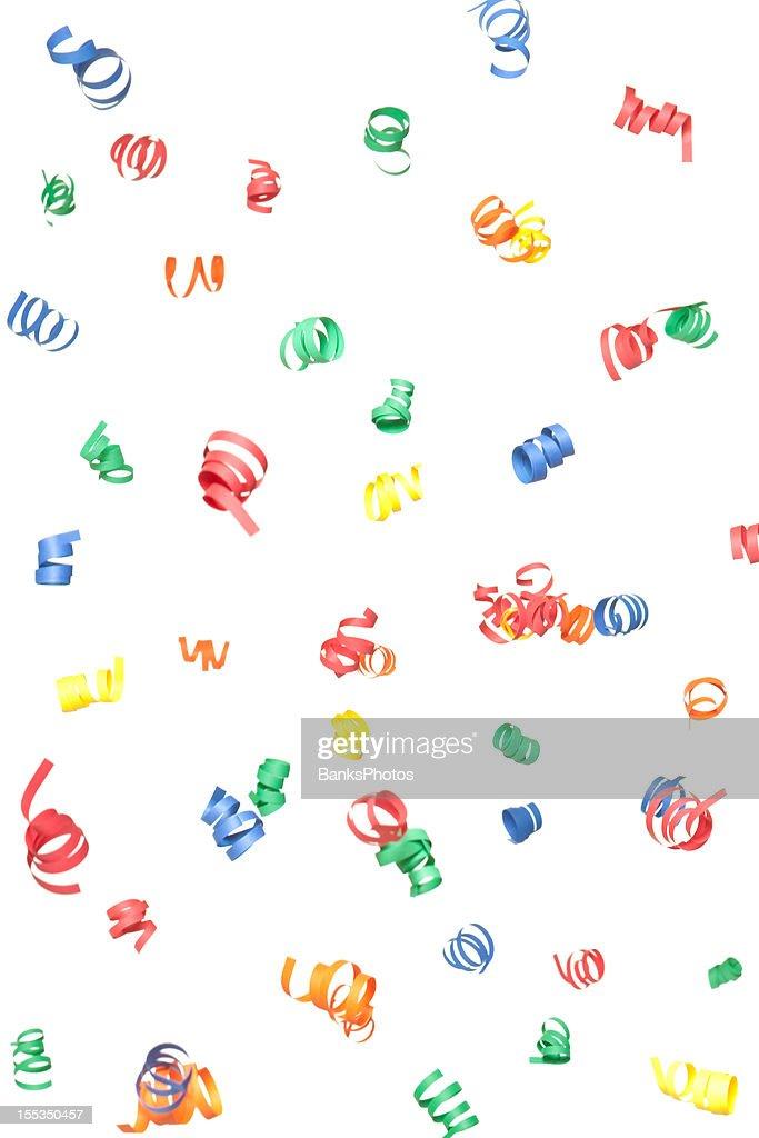 Multicolor Paper Confetti Spirals Falling, Isolated on White : Stock Photo