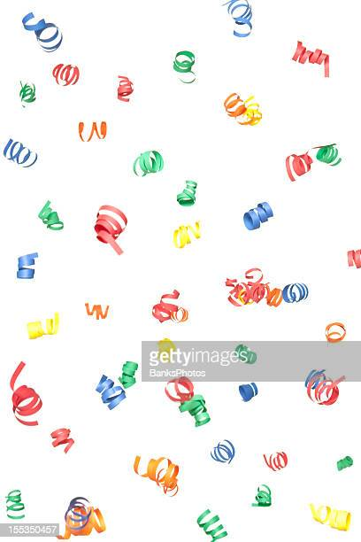 Multicolor Paper Confetti Spirals Falling, Isolated on White