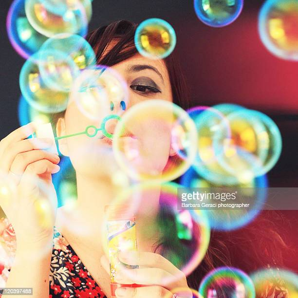 multicolor soap bubbles - province of caltanissetta stock photos and pictures