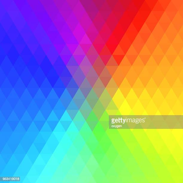 multicolor triangular abstract background - spectrum stock pictures, royalty-free photos & images