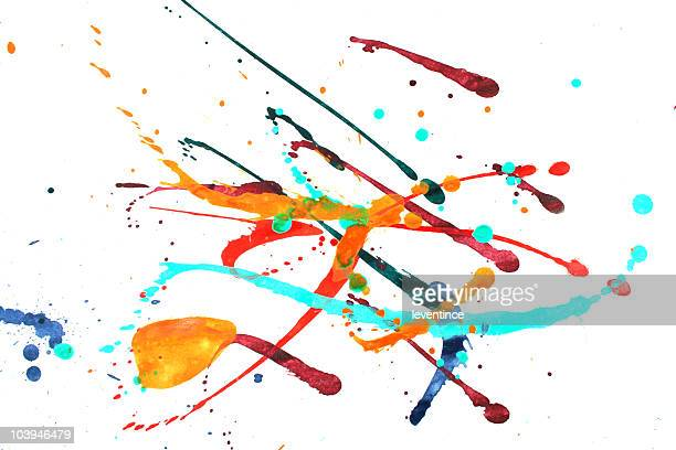 Multicolored abstract splashes of pain on white