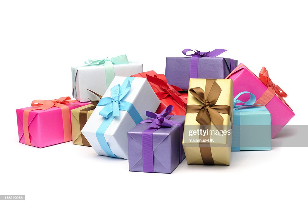 Gift box stock photos and pictures getty images multicolored and beribboned gift boxes in pile negle Images