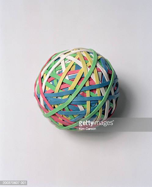 Multicolored ball of rubber bands