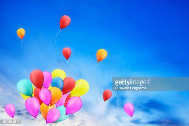 Multicolored balloons in the city festival, concept of happy birthday in summer and wedding honeymoon party illustrator