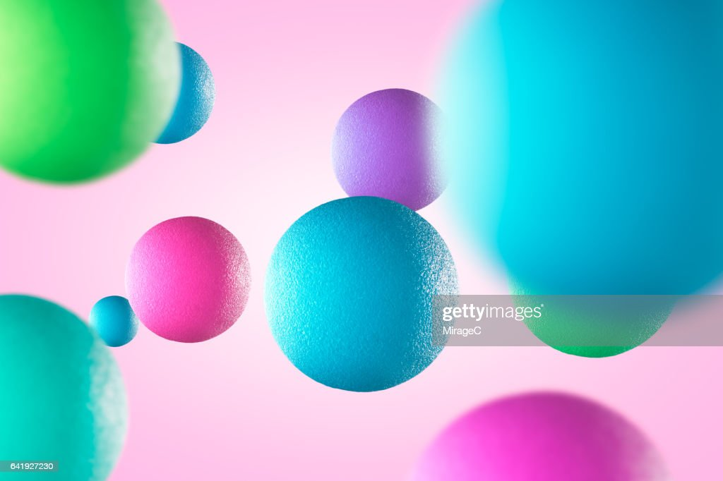 Multi-colored Balls in Mid Air : Foto de stock