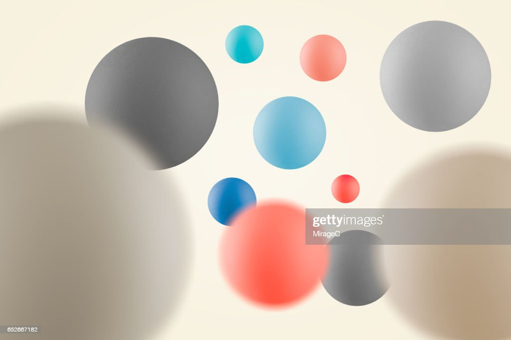 Multi-colored Balls in Mid Air : Stock Photo