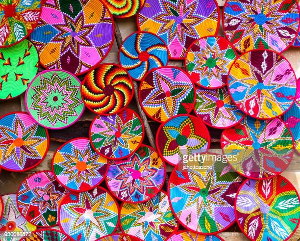 multi-colored baskets in a market, axum, ethiopia - east africa stock photos and pictures