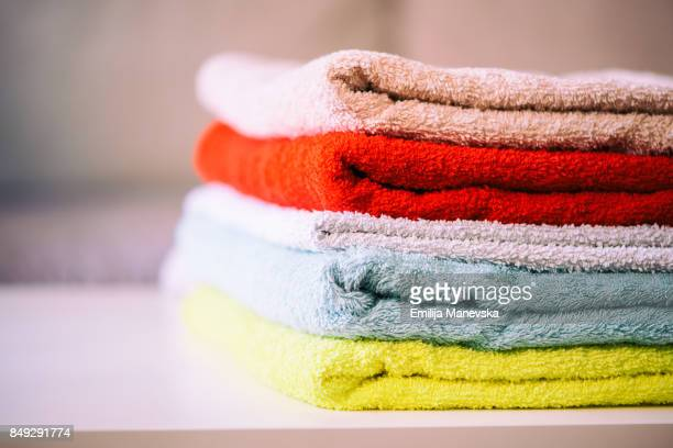 Multicolored bath towels