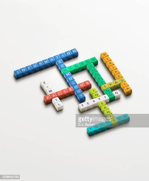 Multicolored blocks in the shape of crosswords with technology associated words on them