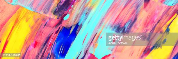 multicolored brushstrokes of paint - drawing art product stock pictures, royalty-free photos & images