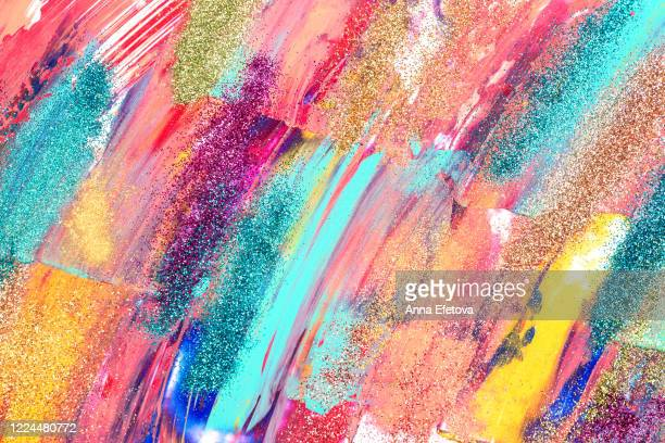 multicolored brushstrokes of paint - painting art product stock pictures, royalty-free photos & images