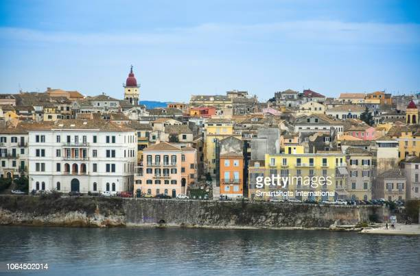Multicolored cityscape and skyline of Corfu Town with bell-tower of Agios Spyridon church in Corfu island, Ionian Islands, Greece
