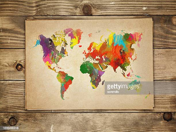 Multi-colored continents on a paper world map