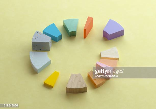 multicolored donut/pie chart - choice stock pictures, royalty-free photos & images