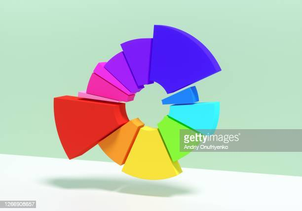 multicolored donut/pie chart - infographics stock pictures, royalty-free photos & images