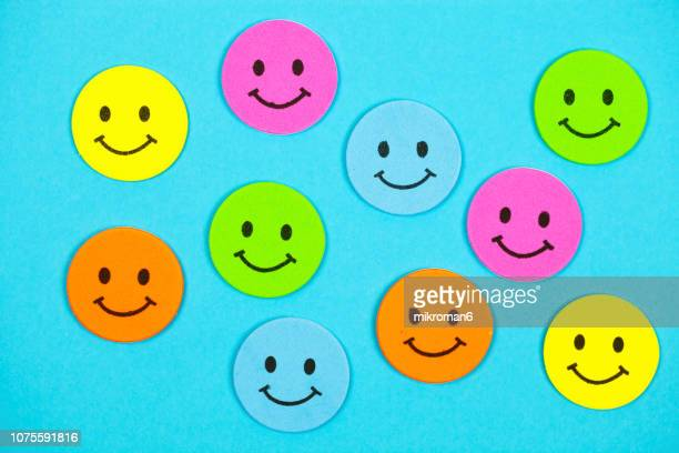 multicolored emoticon smile face - animation stock pictures, royalty-free photos & images