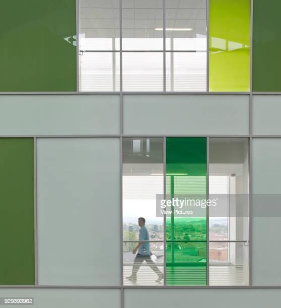 Multi-colored facade paneling. Southmead Hospital, Bristol, United Kingdom. Architect: BDP, 2014.