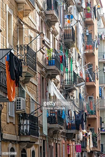 Multicolored garments hang to dry from balconies in La Barceloneta neighborhood, Barcelona, Catalonia, Spain, 24 January 2014. La Barceloneta is a...