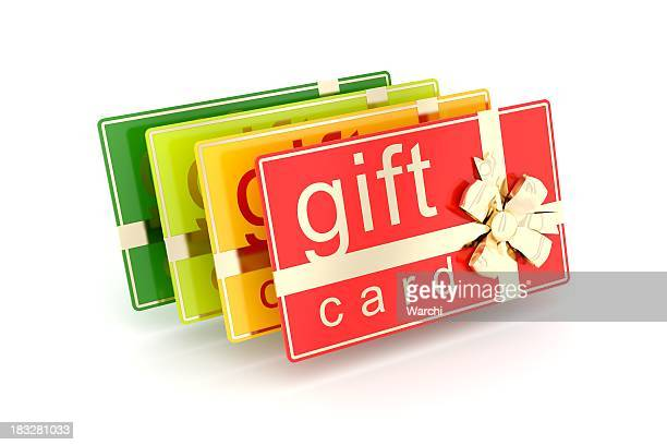 multicolored gift cards