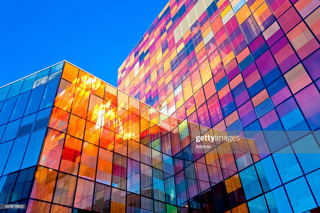 Multi-colored glass wall : Stock Photo